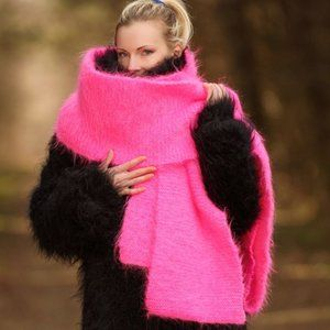 Vintage Fluorescent Pink Mohair Scarf
